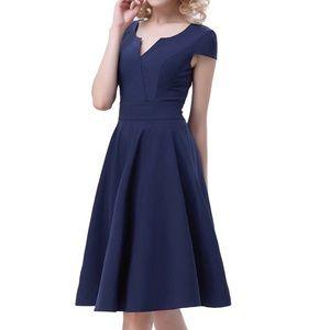 Navy cap sleeve vintage dress